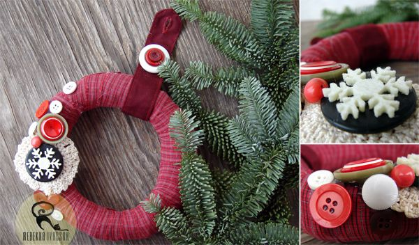 Christmas wreath made of recycled paper, old shirt and buttons