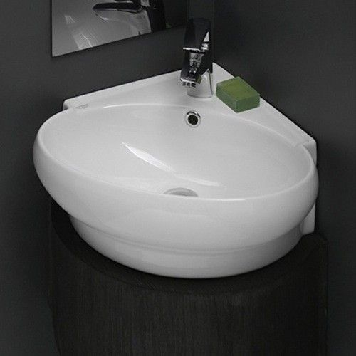 This compact, yet elegant wall-mount sink will save space in the bathroom and make cleaning easier than ever before. http://www.ybath.com/nameeks-cerastyle-mini-wall-mounted-bathroom-sink.html