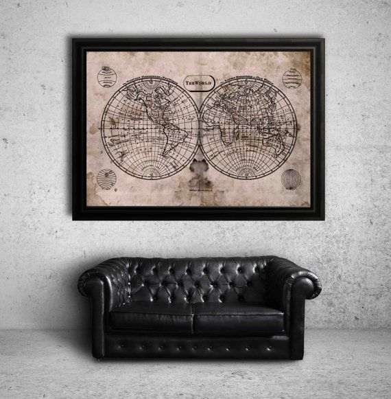 17 best restoration hardware style map prints images on pinterest items similar to world map vintage rustic world atlas map print poster on etsy gumiabroncs Gallery