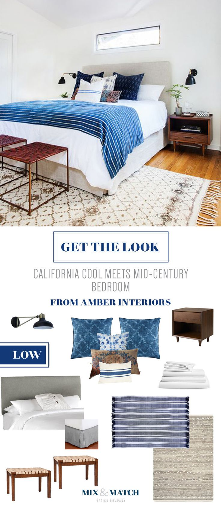 Get the look of this California cool meets mid-century bedroom from Amber Interiors. Indigo, shibori and neutrals come together to create a cozy space. Shop the pieces on the Mix & Match blog!