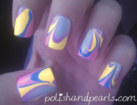 Marbled Nail PolishNails Art, Nail Polish, Nails Design, Nailart, Water Marble Nails, Nails Ideas, Nails Polish, Nail Art, Water Marbles Nails