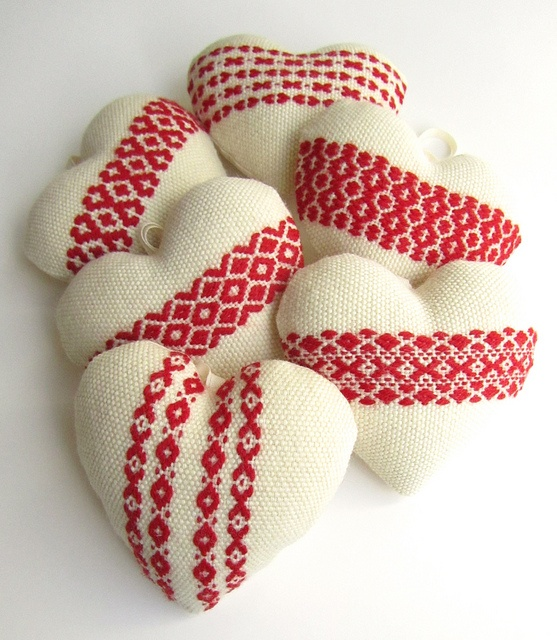 Handwoven Hanging Heart Ornaments by BooDilly's, via Flickr