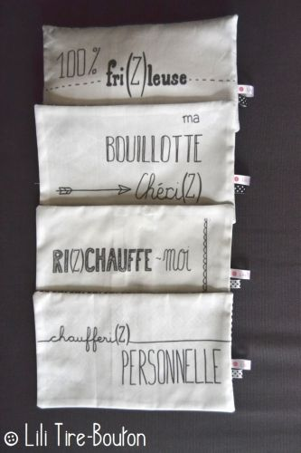 bouillotte sèche remplie riz, tissu exclusif Lili Tire-Bouton