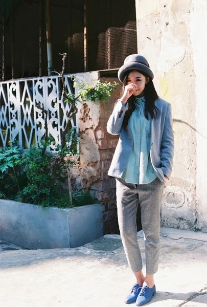 blazer, button up shirt, trousers and oxfords. love the muted hues and pastel combination.