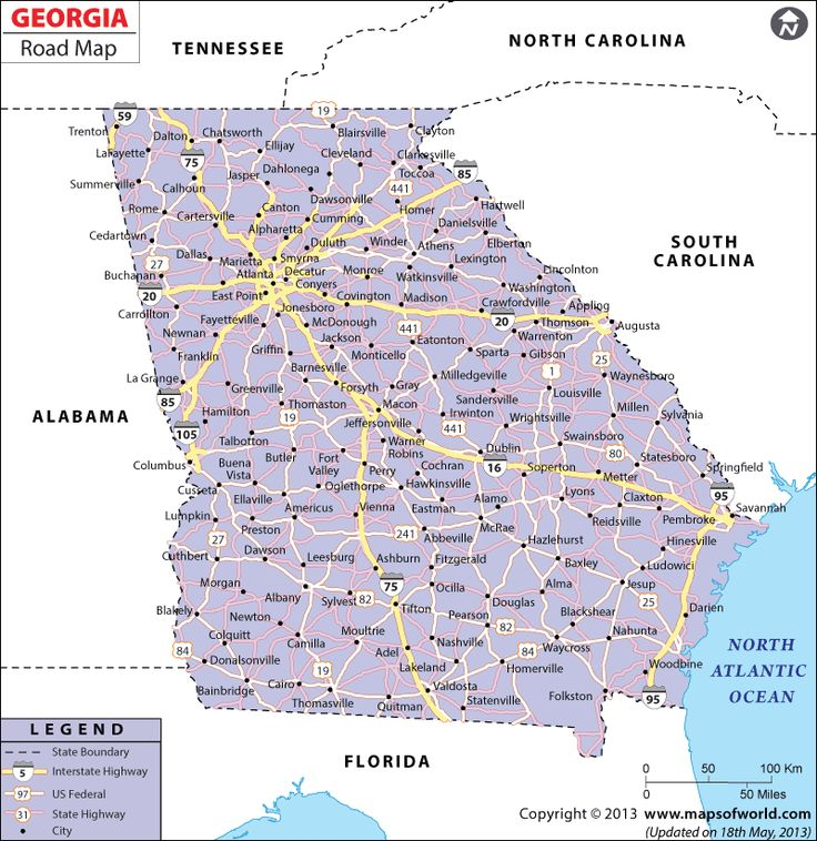 road map of georgia displaying the national highways major roads and much more find this pin and more on usa