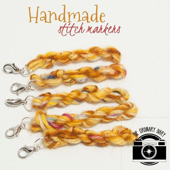 Handmade stitch markers, yarn stitch markers, set of five stitch markers, crocheters supplies, knitters gift, removable universal, unique
