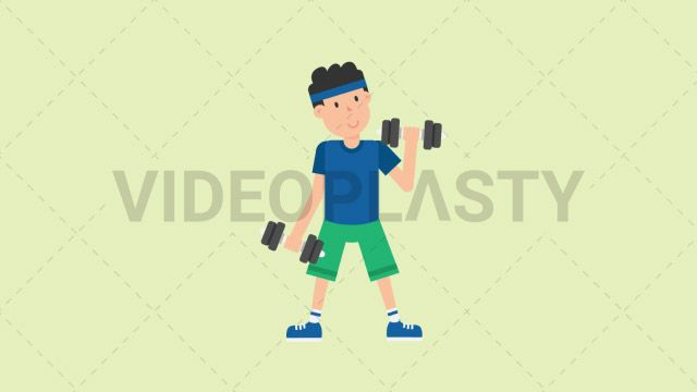A man wearing a blue t-shirt green shorts and a blue headband is working out using a pair of dumbbells and doing biceps curls Two version are included: normal (with a start animation) and loopable. The normal version can be extended with the loopable version Clip Length:10 seconds Loopable: Yes Alpha Channel: Yes Resolution:FullHD Format: Quicktime MOV