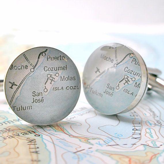 Cozumel Mexico Map Cufflinks by dlkdesigns