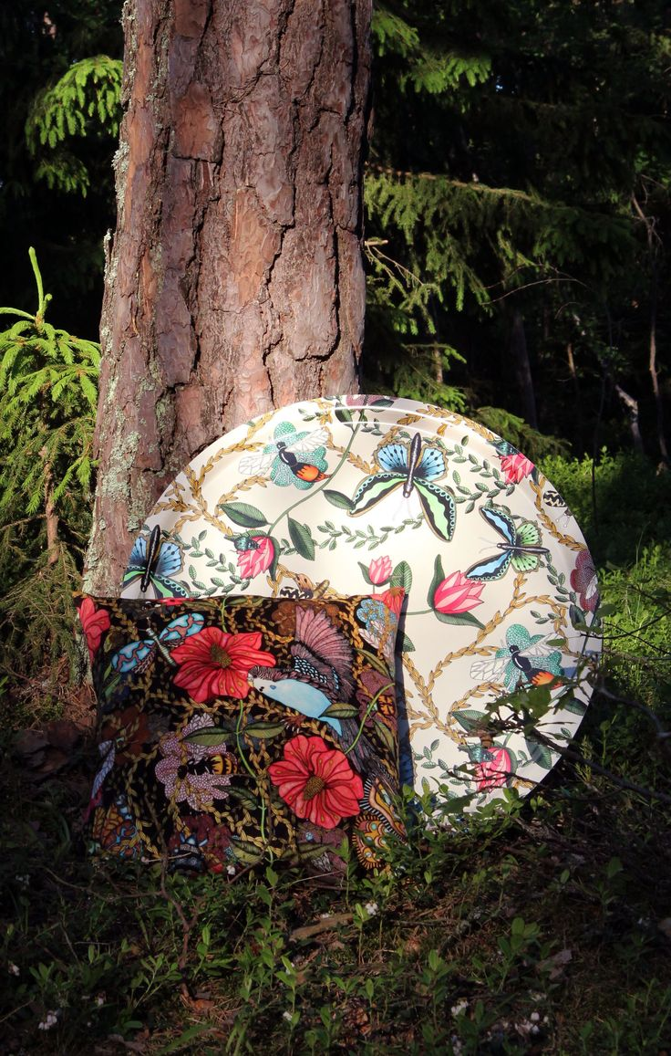 Pillow and tray by Nadja Wedin at Nordic Design Collective. #forrest #bugs #interior #design