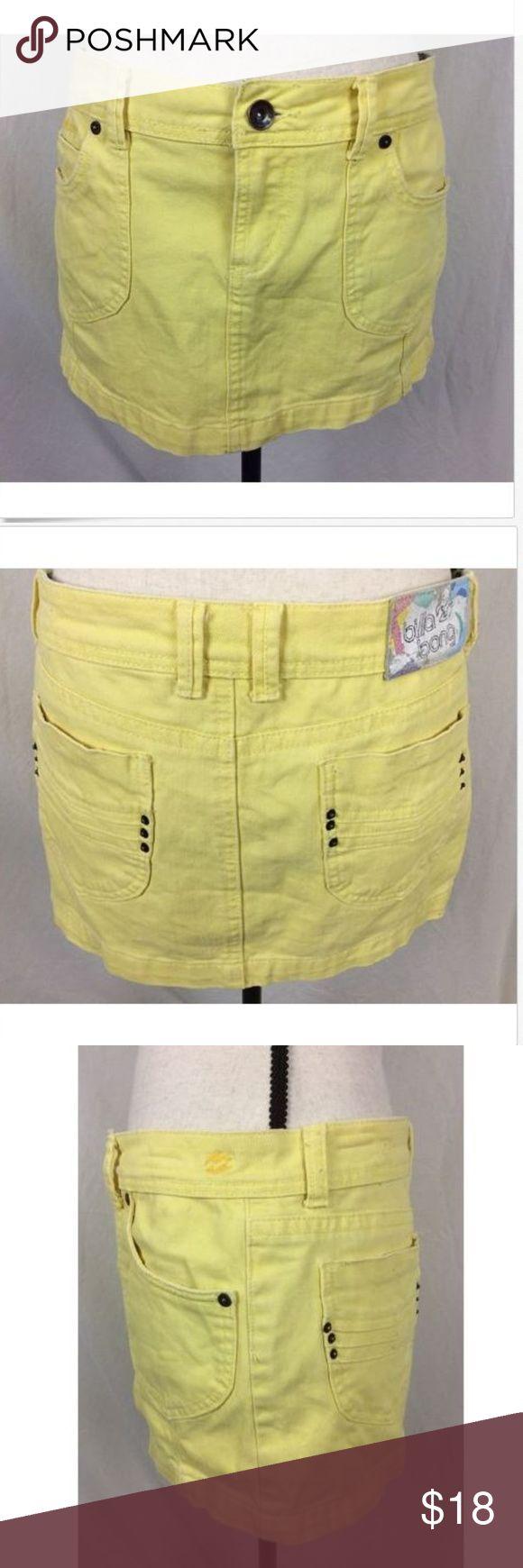 """Billabong Yellow Denim Mini Skirt 7 Juniors Billabong Butter Yellow Jean skirt size 7  Measurements laying flat  Waist 16""""  Length 11"""" Billabong Skirts Mini"""