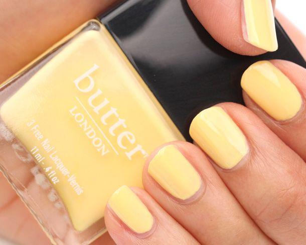 Butter London Jasper, an opaque, pastel yellow creme