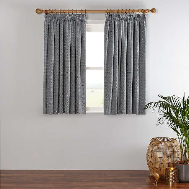 BuyJohn Lewis Mara Diamond Lined Pencil Pleat Curtains, Indian Blue, W167 x Drop 137cm Online at johnlewis.com