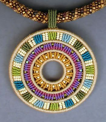 Colorful, detailed micro- macramé  jewelry  by Joan Babcock  is    truly one-of-a-kind work.    Using Cavandoli techniques she is able to  ...