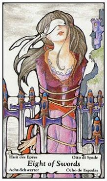 June 9 Tarot Card: Eight of Swords (Hanson-Roberts deck) It's not other people and other circumstances that have you stuck where you are; it's your own mindset. The only way to release yourself now is to open your mind and see things differently