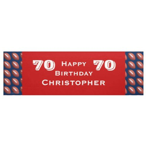 70th Birthday Party Football Banner, Adult Banner