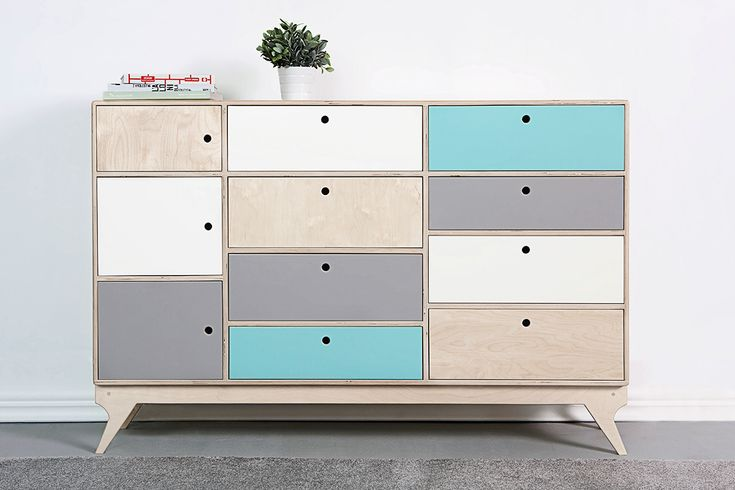BLISS. our scandinavian, plywood chest of drawers / bureau. designed by Wood Republic / #interior #design #scandinavian #wood #natural #plywood #colored #fronts #drawers #cabinet #chestofdrawers #bureau #vintage #70s #60s #polish #danish #modern #minimalist #minimal #customized #personalized #stylized #solid #birch #handmade #colored #fronts #loft #kids #room #kidsroom #child #children #scandi