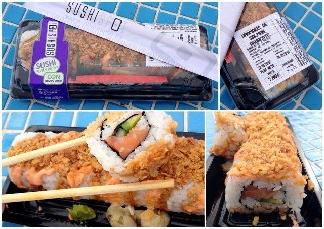 Nooit eerder kwam ik in de verleiding om sushi in een supermarkt te kopen, maar bij El Corte Inglés wordt het vers voor je neus klaar gemaakt. Meer zomergevoel dan van een picknick :-) op het strand met sushi krijg je niet, toch? En lekker dat het was!