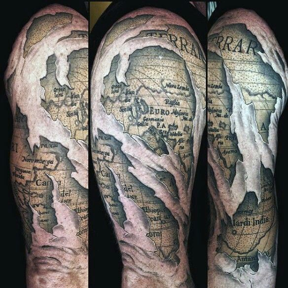 40 best tattoo ideas images on pinterest tattoo ideas tattoo 50 world map tattoo designs for men adventure the globe gumiabroncs Images