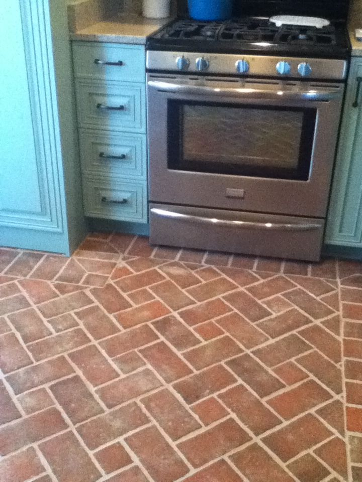 Brick Tile Kitchen Floor In Pinwheel Pattern. Wrightu0027s Ferry Tiles, With  Off White