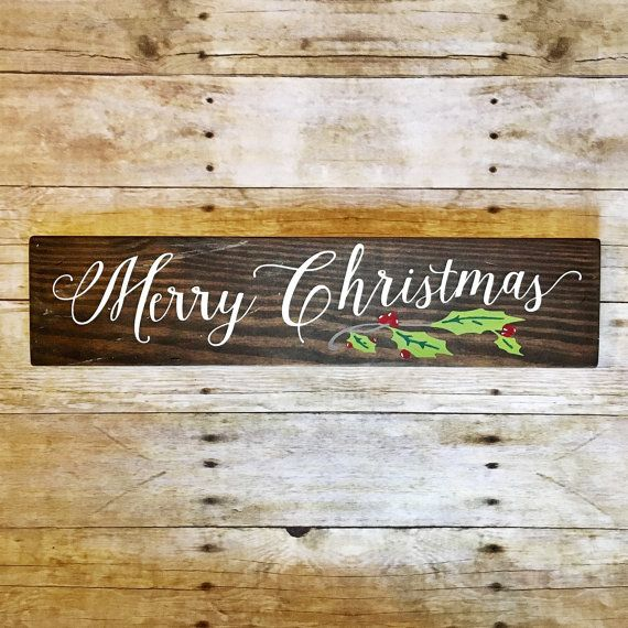 Always free shipping when you order from us! Add this beautiful script hand painted sign to your Christmas decor this year...or gift it to someone extra special. This can be made on reclaimed or new wood and stained or painted the shade of your choice. It measures approx. 5.5 tall and 21 long. It is about 3/4 thick and intended for indoor use only. It has the slightly aged, distressed finish that is our Cherry Hollow Lane signature. We make no attempt to cover the natural characteristics of…