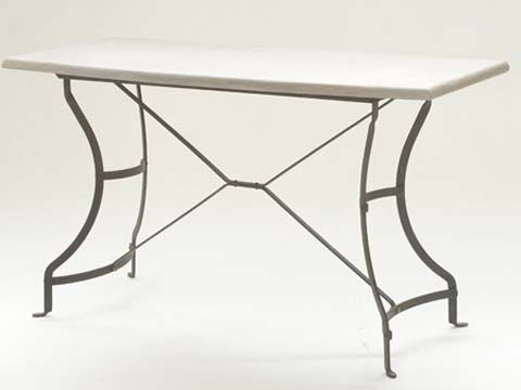 Deluxe Server with Limestone Top and Galvanized Frame - Inside Out Home Boutique