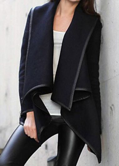 Navy Blue Turndown Collar Long Sleeve Coat