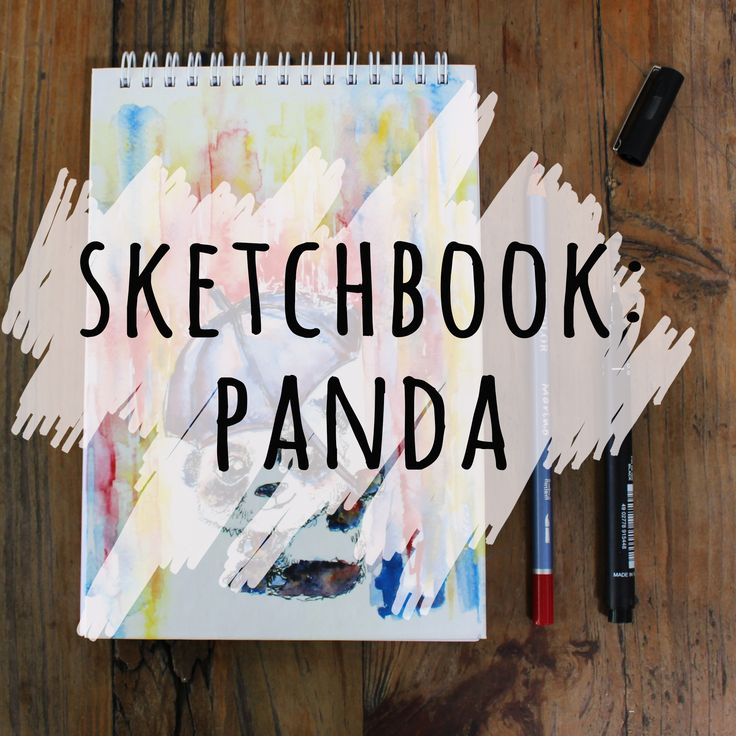 I painted this cute panda in watercolor and designed this lovely sketchbook for drawing