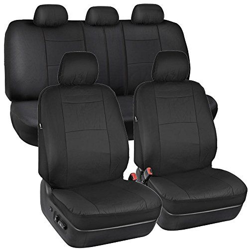 Solid Black Synthetic Leather Seat Covers for Car SUV Auto Two Tone Style - http://www.caraccessoriesonlinemarket.com/solid-black-synthetic-leather-seat-covers-for-car-suv-auto-two-tone-style/  #AUTO, #Black, #Covers, #Leather, #Seat, #Solid, #Style, #Synthetic, #Tone #Interior, #Seat-Covers
