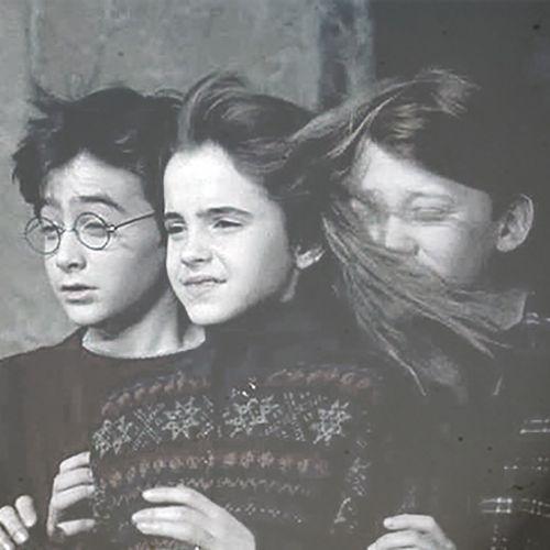 Emma's hair in Rupert's face