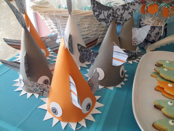 Shark Party Hats Under The Sea Kids Birthday Party Ideas