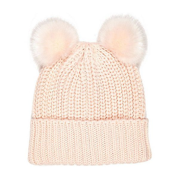 River Island Light pink knitted pom pom hat ($30) ❤ liked on Polyvore featuring accessories, hats, pink, women, pom pom beanie hat, pink beanie, pom beanie, holiday hats and pink beanie hat