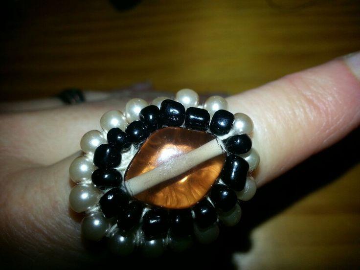 Caramel Brown Black and White glass bead embellishment on crochet ring