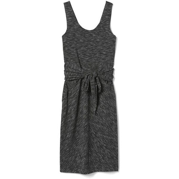 Gap Women Spacedye Tie Front Tank Dress (£37) ❤ liked on Polyvore featuring dresses, black space dye, petite, below the knee dresses, sleeveless tank dress, form fitted dresses, below knee dresses and scoop-neck dresses