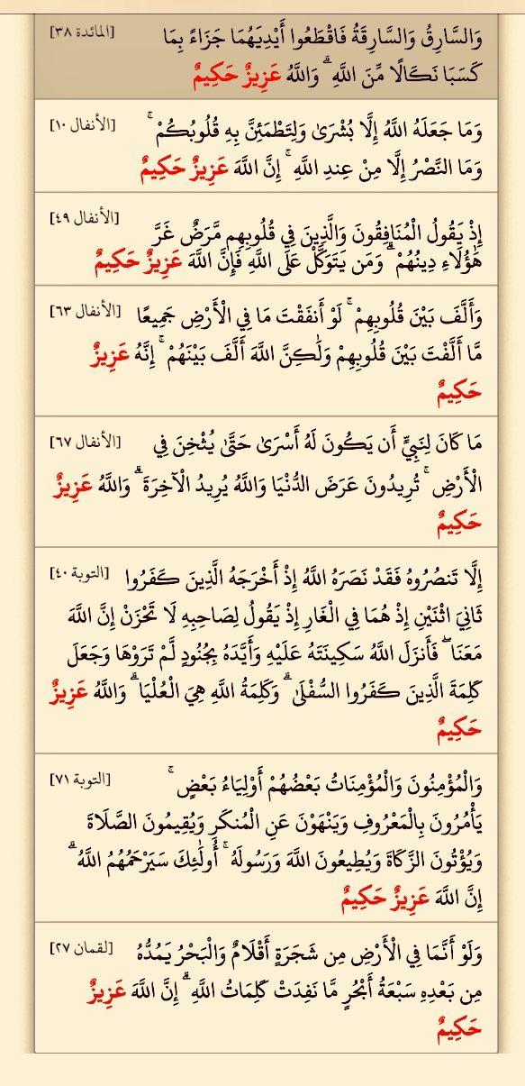عزيز حكيم ثلاث عشرة مرة في بحث القرآن خمس مرات في سورة البقرة أربع مرات في الأنفال ١٠ ٤٩ ٦٣ ٦٧ مرتان في التوبة ٤٠ ٧١ Quran Verses Holy Quran Words