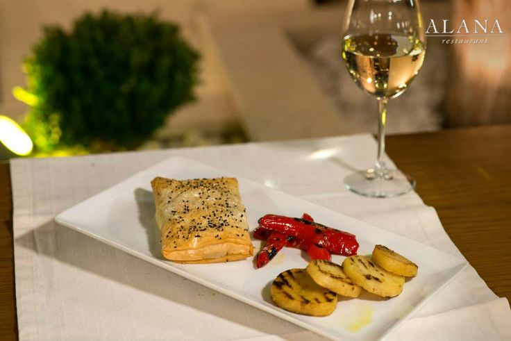 Hidden chicken with sundried tomatoes, basil pesto and talagani cheese, rolled  in traditional phyllo pastry, served with grilled vegetables and potatoes. #AlanaMenu #SeenAtAlana #Rethymno
