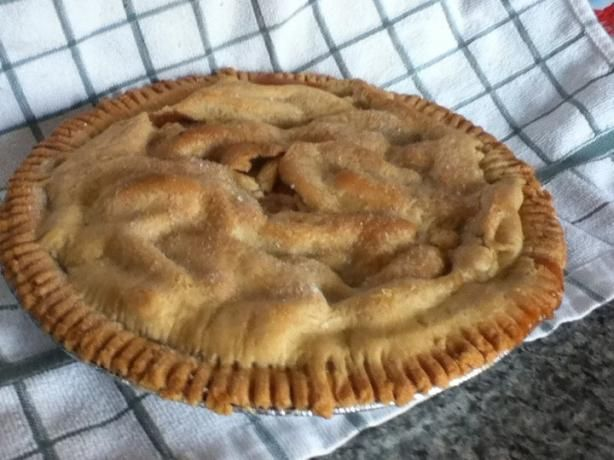 Easiest pie recipe for peaches or apples (I use granny smith apples and almost 1/2 cup flour). Wonderful! (Pillsbury crusts are great -- and look better than this one.)