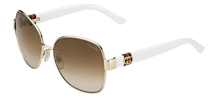 GUCCI - EYEGLASSES & SUNGLASSES  Gucci GG4242/s 24s is gold square women's sunglasses. It's gold metal frame, white optyl temples with web ribbon and interlocking G metal logo ,brown shaded lens 100% UVA/UVB protection.  Authorised Store @ C  O Charun Optic +91-9898335547