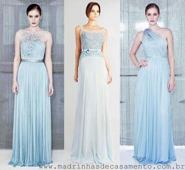 Madrinhas de casamento: Vestido de festa azul claro