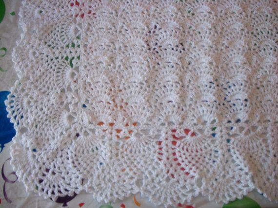 Elegant Crocheted White Blanket Perfect by MADEWITHLOVEBYSUZIEQ, $185.00