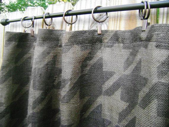 Burlap Houndstooth Shower Curtain!