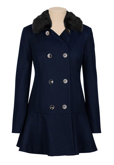 Navy Faux Fur Collar Double Button Coat (original price, $149) available at #Maurices  an awesome dark dressy coat