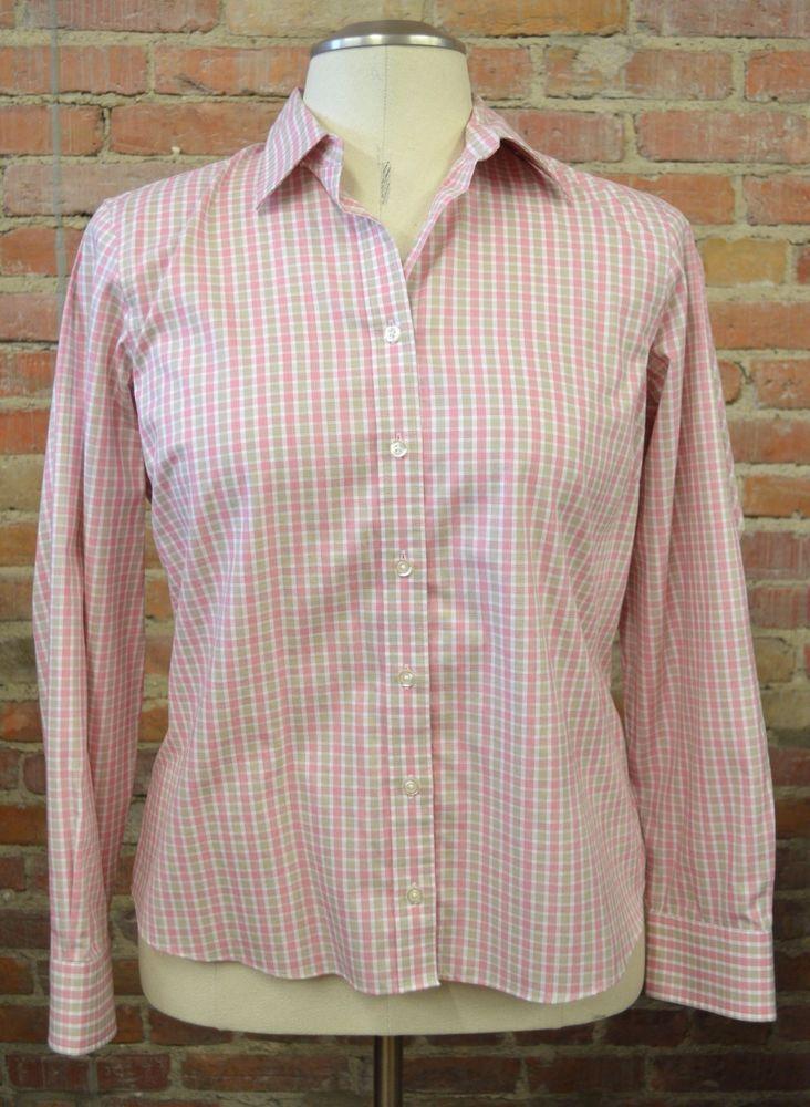 Lands' End Women's Pink No Iron Checkered Long Sleeve Oxford Shirt 14 Petite #LandsEnd #ButtonDownShirt #Casual