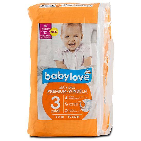 babylove aktiv plus Premium-Windeln 3 midi 4-9 kg, Windeln aus dem dm Online Shop.