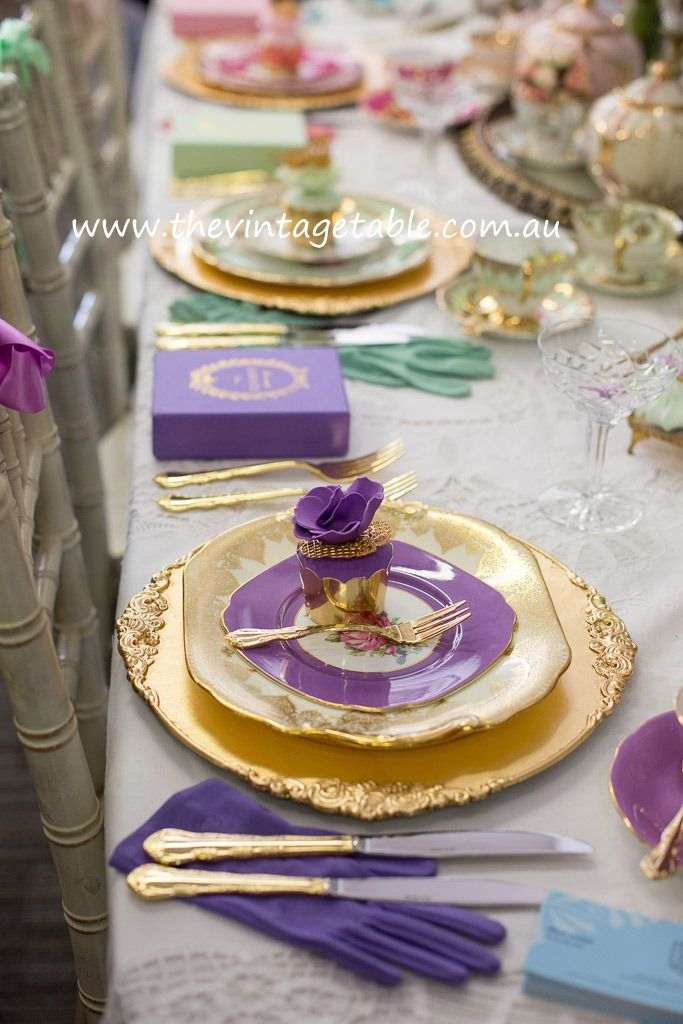 Vintage China & Gold Charger Plates.  I had to pin these for the beautiful Ladurée boxes