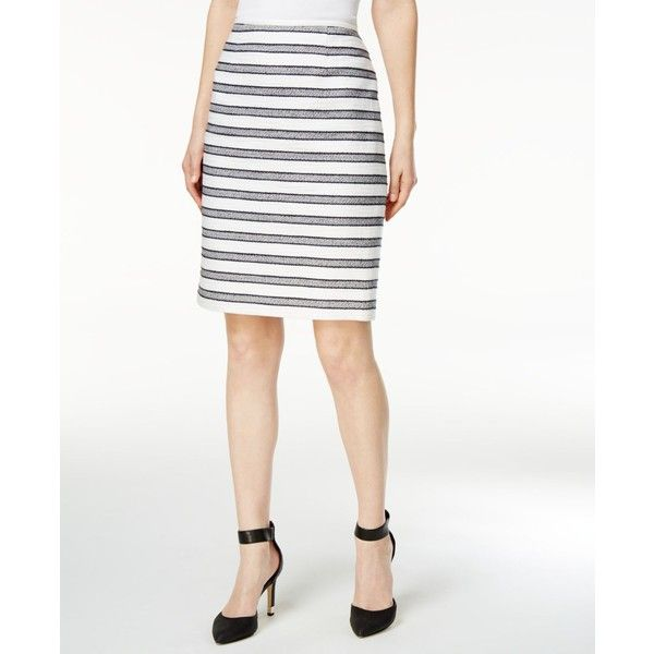 Calvin Klein Petite Striped Boucle Pencil Skirt ($79) ❤ liked on Polyvore featuring skirts, calvin klein skirt, white skirt, white knee length skirt, white knee length pencil skirt and petite skirts