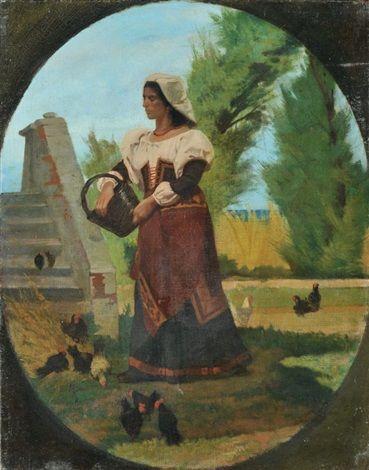 Giovanni Fattori - Cortile rustico con contadina