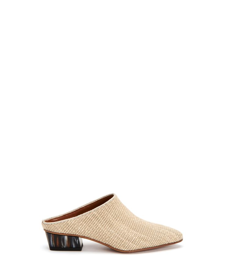 """Fife $395.00 Item# 34L1076 Smooth leather mule with a braided trim on a painted heel. Details •Calf leather • Slip on • Leather lining • Padded leather sock lining •  1.2"""" (30MM) hand painted heel • Leather and rubber heel • Made in Italy"""