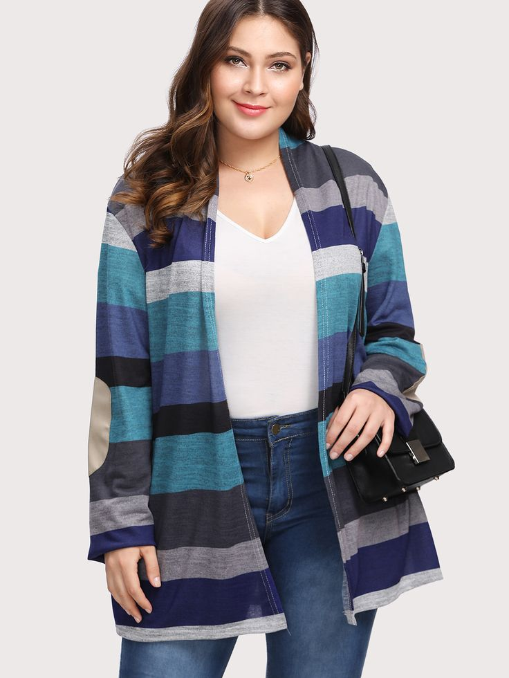 Shop Multi Wide Stripe Elbow Patch Cardigan online. SheIn offers Multi Wide Stripe Elbow Patch Cardigan & more to fit your fashionable needs.