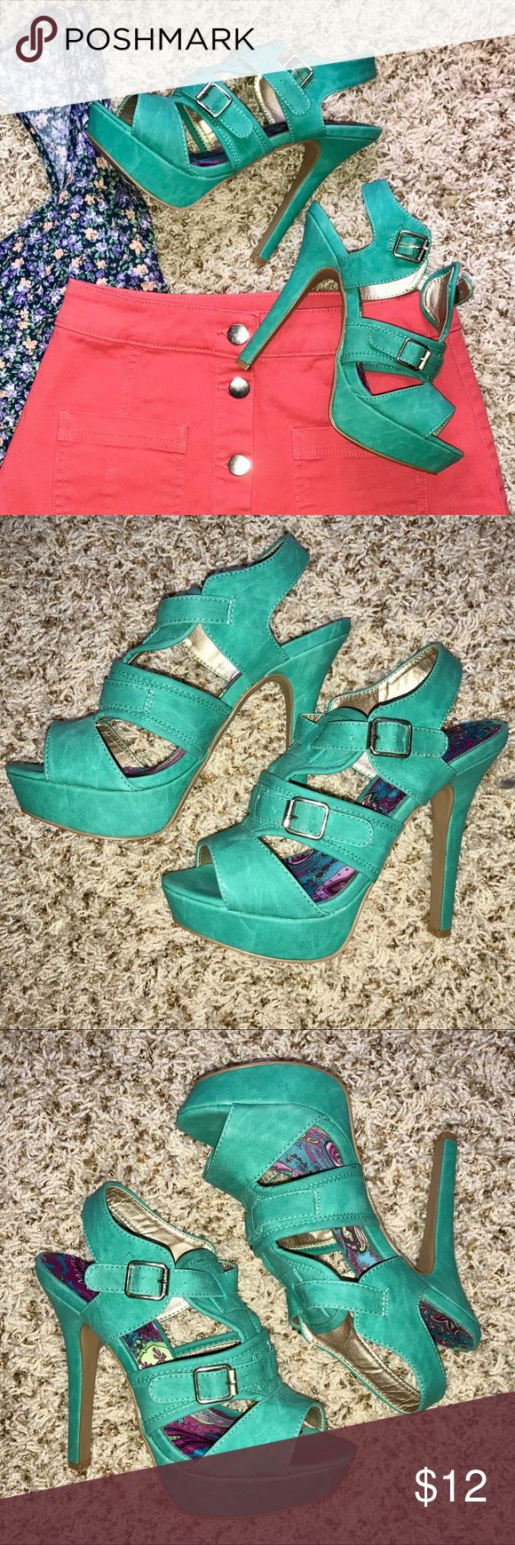 """Green Strappy Heels High heeled sandals with straps and buckle details. 4"""" heel. Worn twice. In excellent condition. Charlotte Russe Shoes Heels"""