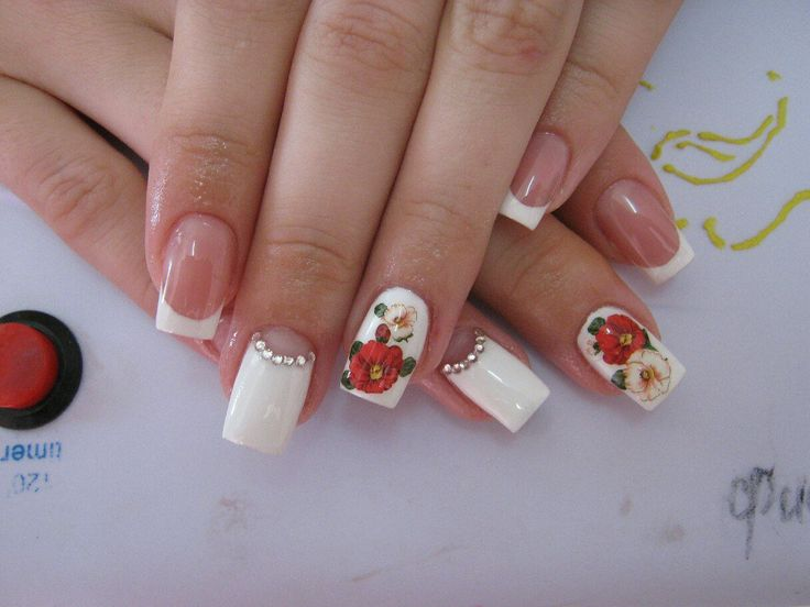 Fashion nails 2016, flower nail art, Jeans nails, Manicure by summer dress, mix match nails, Moon French manicure, Nails with rhinestones, Romantic nails
